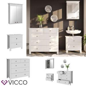 Details zu VICCO Badmöbel Set ALBATROS Weiß Waschtischunterschrank  Spiegelschrank Kommode