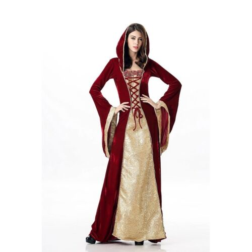 Game Of Thrones - Tudors Medieval Gown Renaissance Dress Red Gold Corset Costume
