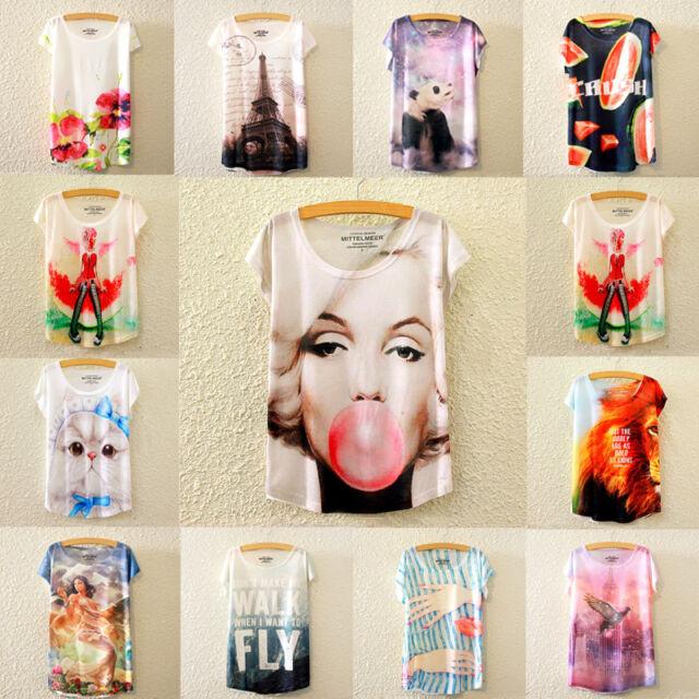 Fashion Women Casual Short Sleeve Shirt Loose Summer Cotton T-shirt Tops Blouse