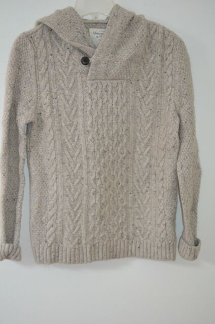 Abercrombie Fitch Gray Cable Knit Hooded 30 Wool Shawl Collar