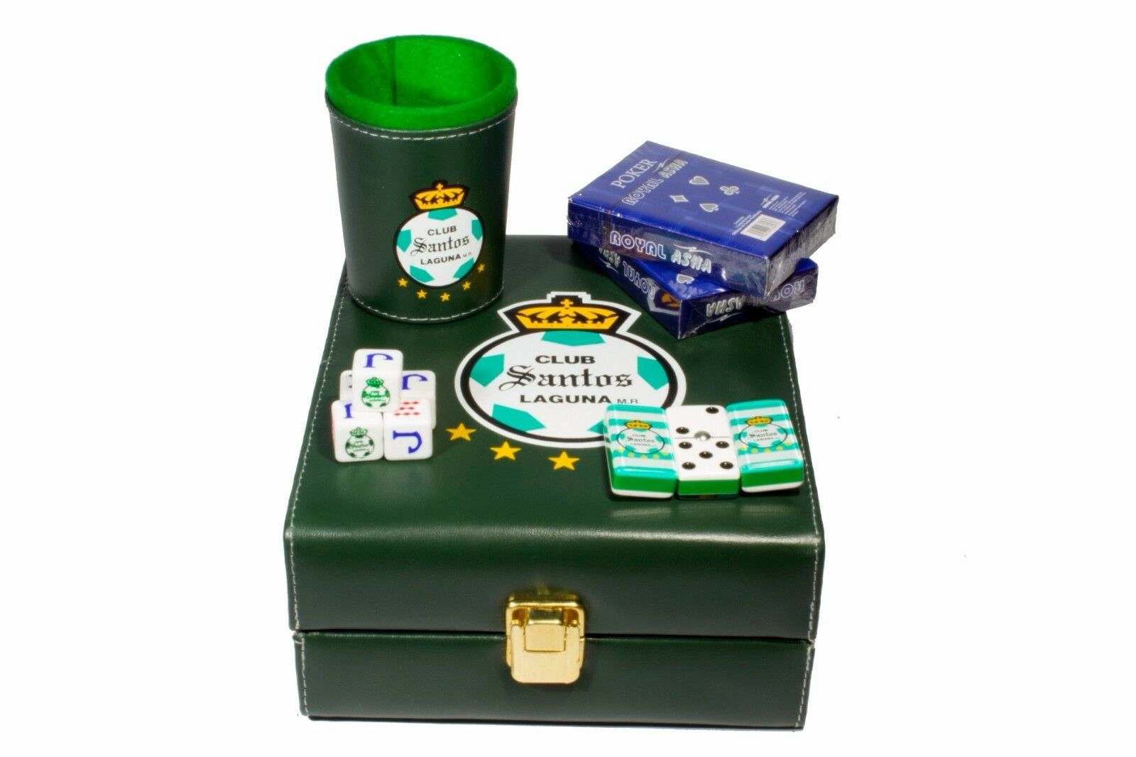 Club Santos Laguna Deluxe Set 3 Games: Domino, Dice Cup, 2 Poker Cards