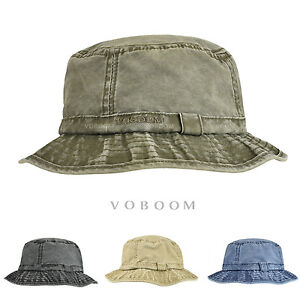 af3f80743e3aeb Image is loading Distressed-Cotton-Bucket-Hat-Mens -Vintage-Fisherman-Hunting-