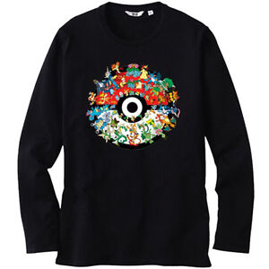 6895eea4 Details about New Pokemon Starter Pokeball Monster Men's Long Sleeve Black T -Shirt Size S-3XL