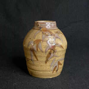 Vintage-Stoneware-Studio-Art-Pottery-Bud-Vase-Hand-Made-Bamboo-Design