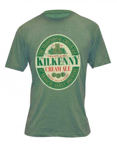 Kilkenny Irish Beer Distressed Gaelic Label Tee Mens Brushed Cotton Ireland New