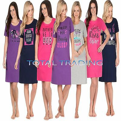 Angemessen Ladies Womens Night Shirt Nightdress Womens Nightie Nightshirt Slogan Cotton Attraktives Aussehen