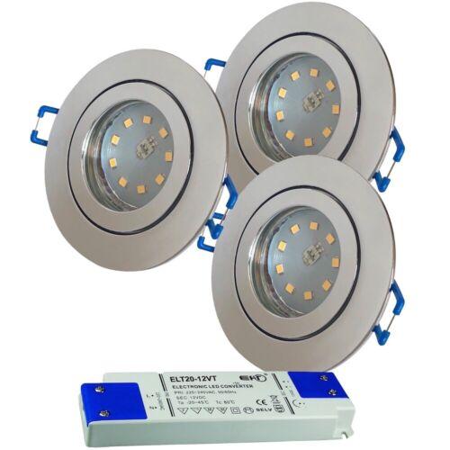 12VoltBad Deckenstrahler IP445Watt LED Spots in ChromLED Trafo dabei
