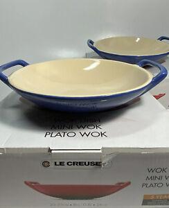 NEW-NIB-2pc-Le-CREUSET-Stoneware-Wok-Serving-Dish-Bowl-8-25-034-28-oz-Cobalt-Blue