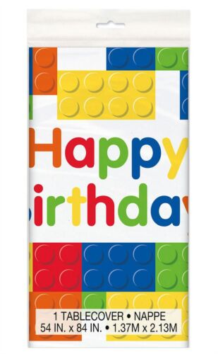 Building Block Happy Birthday Plastic Table Cover Kids Party Tableware Accessory