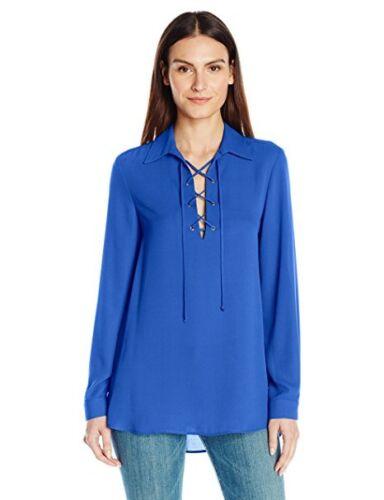 MSRP $118 Karen Kane 4L25333 Bright Blue Lace-up Blouse Tunic Top