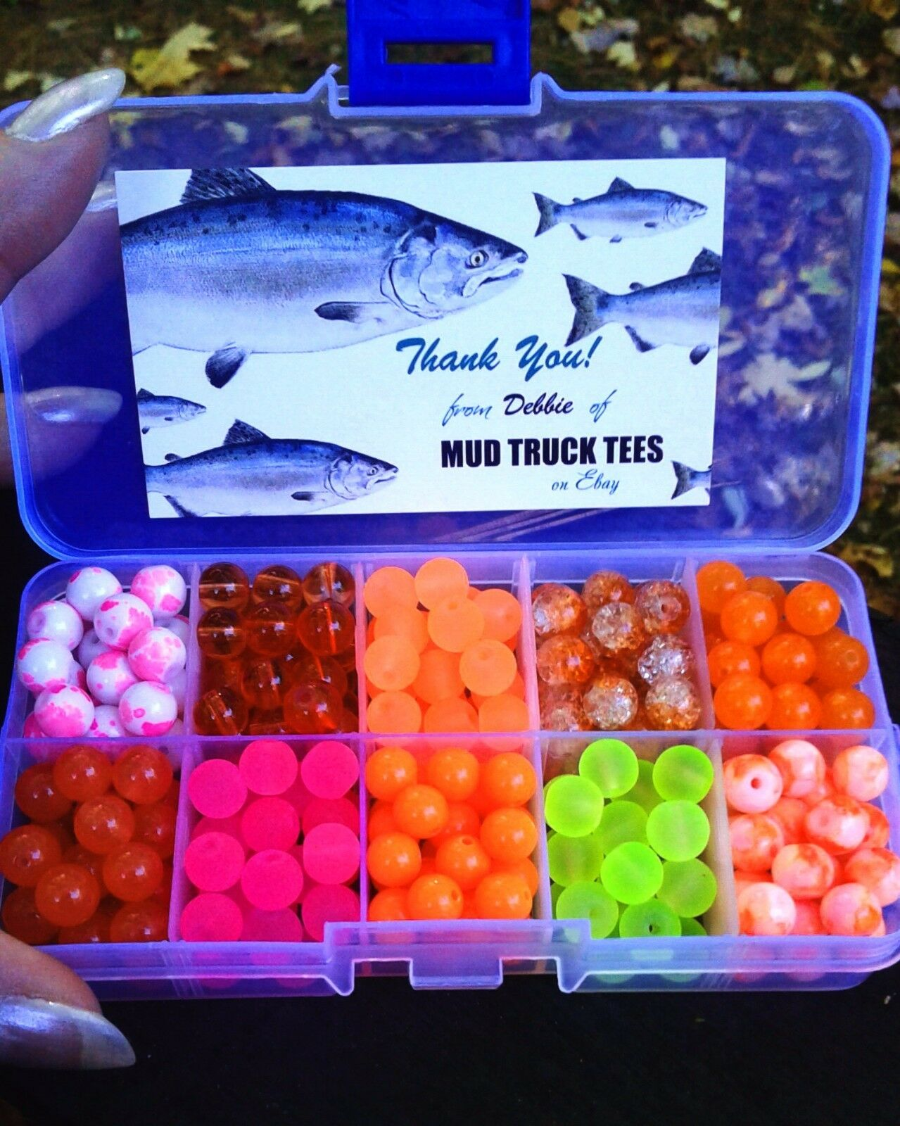 Premium Trout Salmon Steelhead Fishing 8mm Beads  Assortment 10 colors Box Heavy
