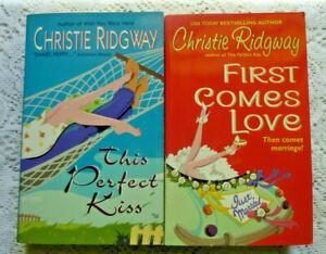 Lot-of-2-Christie-Ridgway-Romance-Novels-Paperback-1st-Comes-Love-Perfect-Kiss