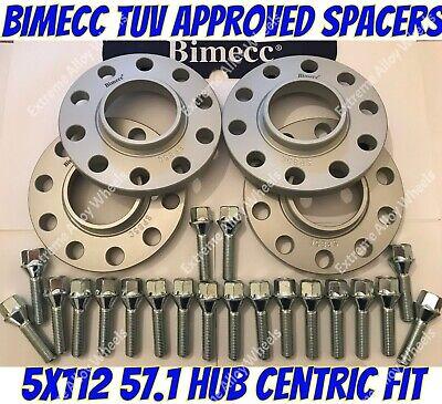 Alloy Wheel Spacers 12mm 15mm Audi A6 A8 Q2 Q3 R8 TT Black Bimecc 5x112 57.1