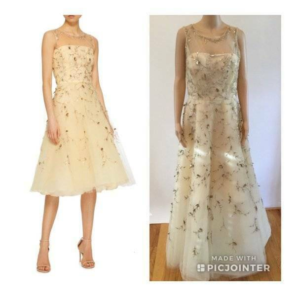 OSvoiture DE LA RENTA HAUTE COUTURE Floral Appliqued Tulle robe de taille 8 10  12k fonctionne SM