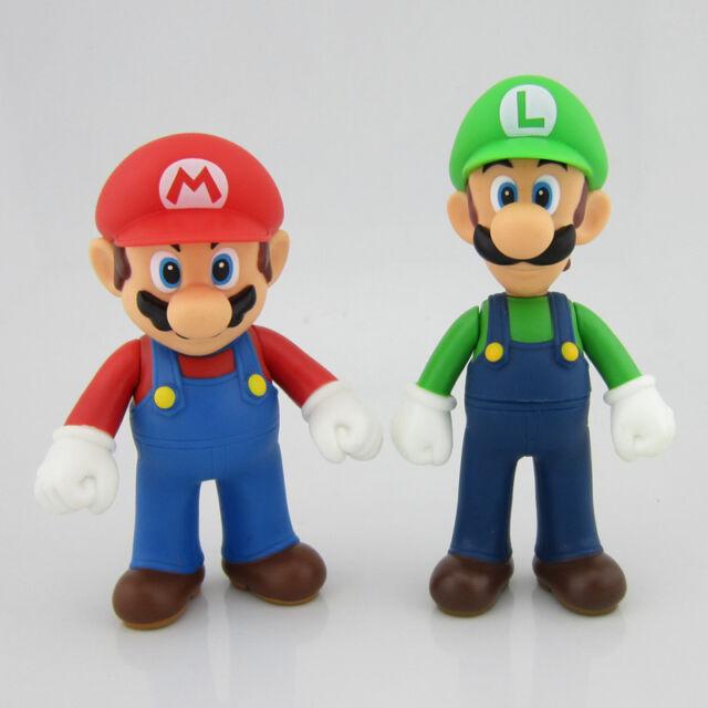 "Lot 2 Nintendo New Super Mario Bros Brothers Luigi Toy PVC Action Figure 5"" 12cm"