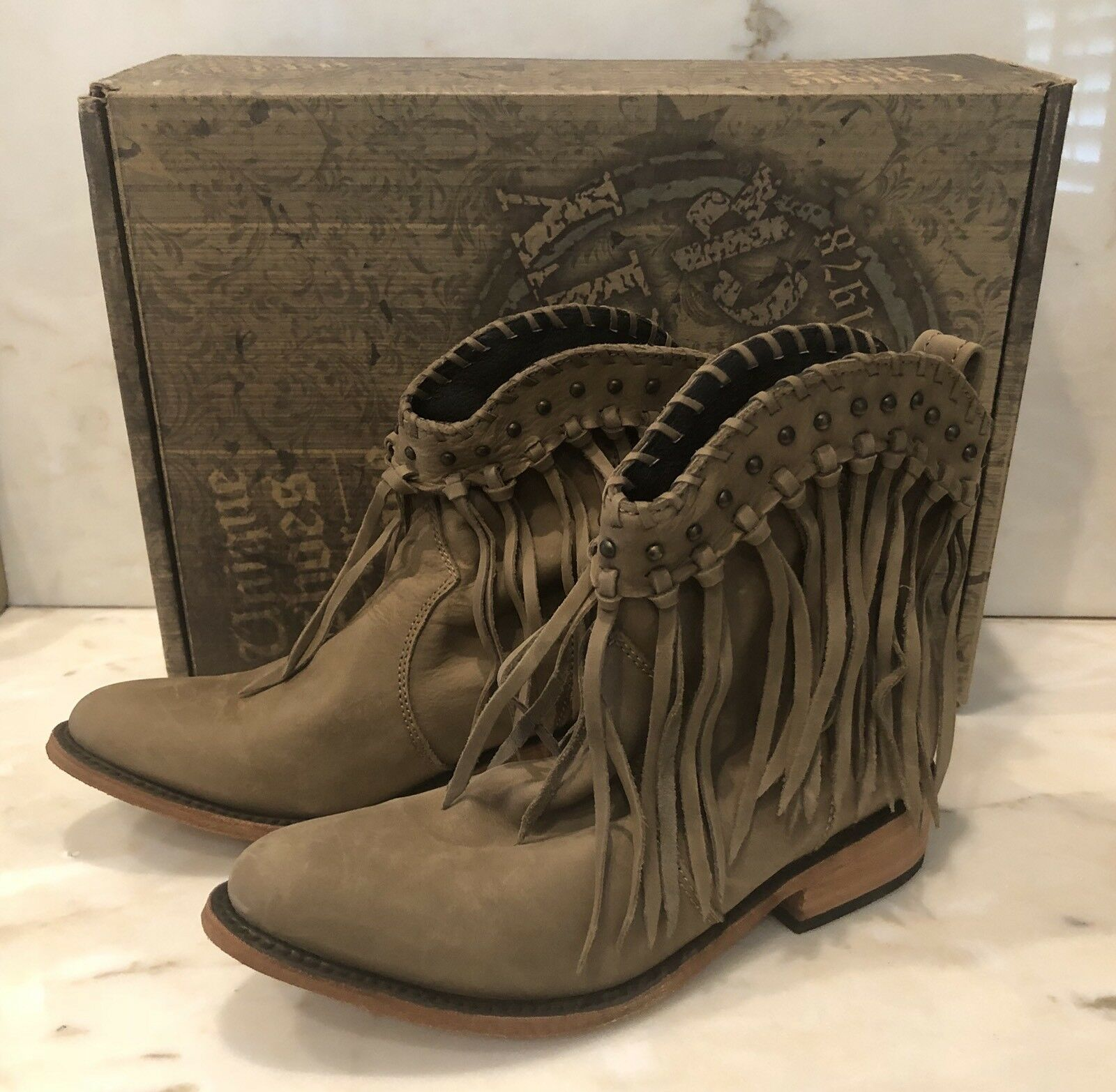 Liberty Black Fringe Womens Boots 6.5 Vegas Taupe SULB-713303 C retail  280 NEW