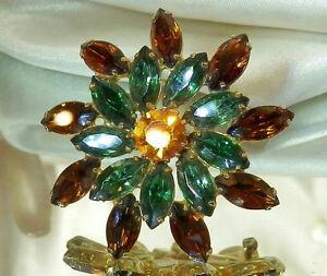 Gorgeous-Amber-Orange-Green-Navette-Rhinestone-Vintage-50-039-s-Flower-Brooch-225n6
