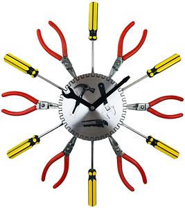 DIY Metal Tool Workshop Garage Wall Clock 39cm Screwdriver Pliers Kids Office UK