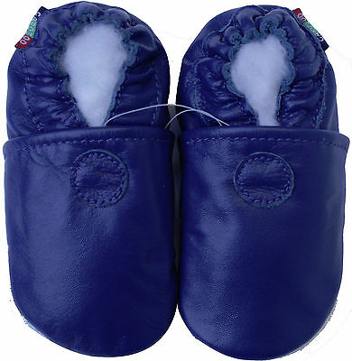 carozoo solid blue 6-12m soft sole leather baby shoes