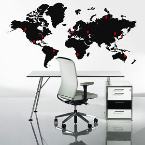 Image Is Loading Extra Large World Map Wall Stickers Globe Graphics  Part 87