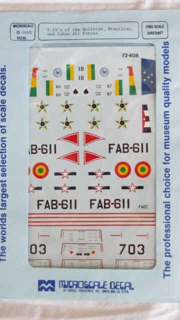MICROSCALE 1/72 DECAL T33's of BOLIVIAN, BRAZILIAN & CUBAN AIR FORCES #72-408