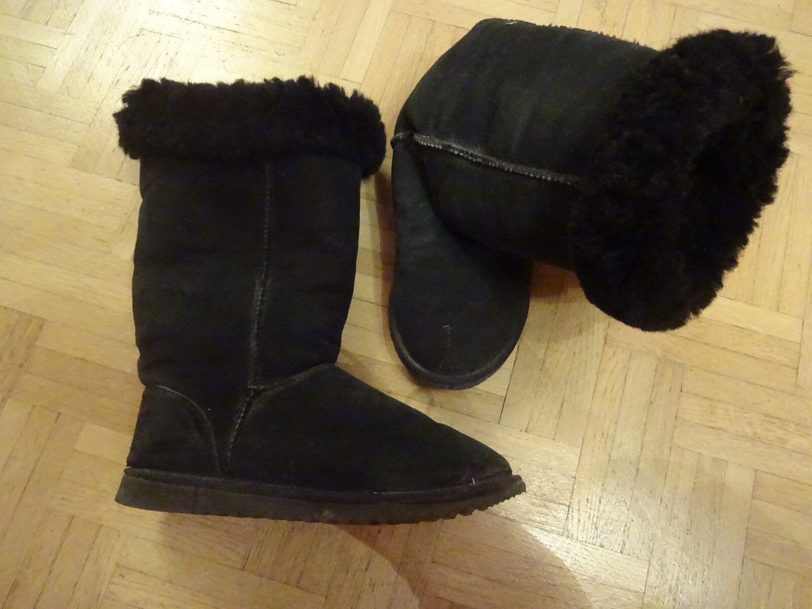 Classic Aussie Damen Stiefel Stiefeletten schwarz Schaf Lammfell  Gr. 41-42 Leder