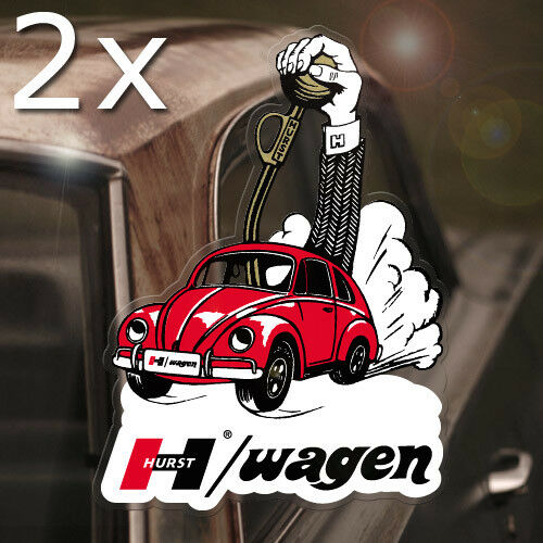 2x pieces Hurst Bug Wagen REAL waterslide decal beetle aircooled inside glass