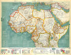 BIG SIZE PHYSICAL MAP CARTE ATLAS 1950 : NORTH AFRICA
