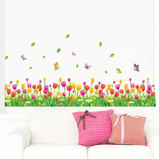 skirting board flooring angular line tulip flower wall sticker home decor decal