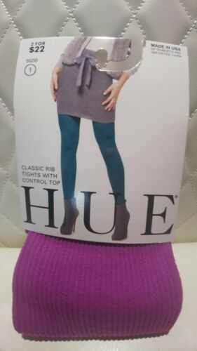HUE Women/'s Classic Rib Tights With Control Top NWT