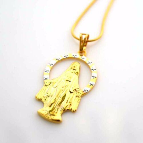 """24K Yellow Gold Filled Pendant Necklace Virgin Mary 18/""""chain Link GF Jewelry Pop"""