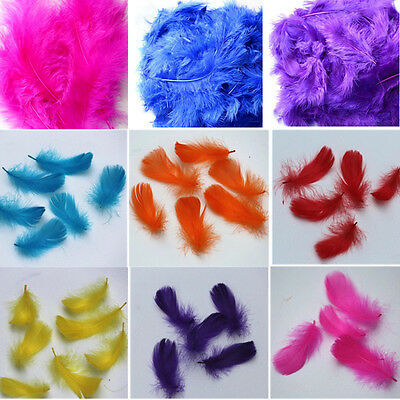 100 Pcs GIFT NEW IN FLUFFY FEATHERS MARABOU EMBELLISHMENTS COLOUR  CARD MAKING