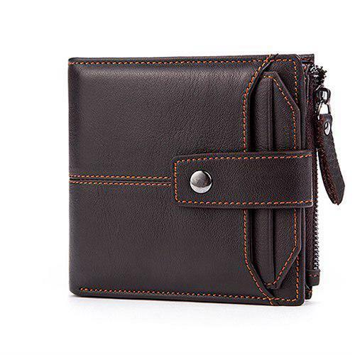 RFID Blocking Genuine Leather Men Wallet Vintage Slim Short Credit Card Holder