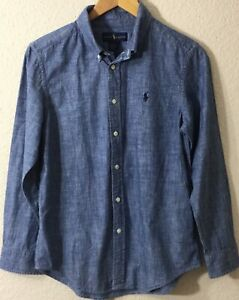 Ralph-Lauren-Youth-Boys-L-S-Button-Shirt-Front-Chambray-Blue-Shirt-L-14-16