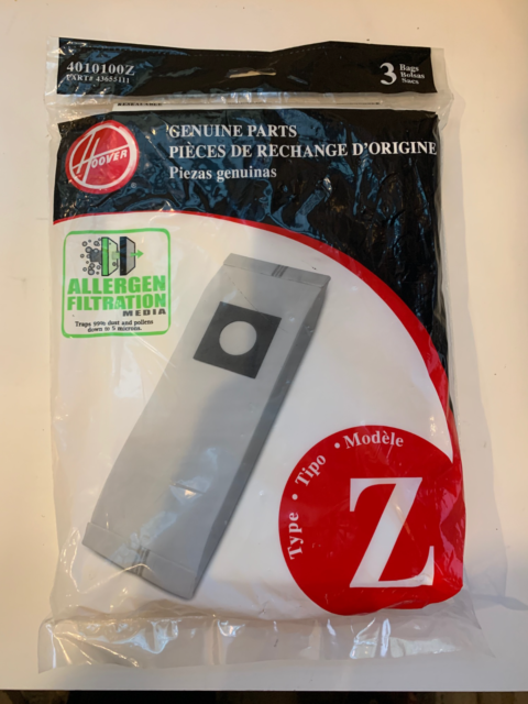 Hoover Micro Allergen Filtration Style Z Vacuum Bags  3 Pk 4010100Z, 43655111