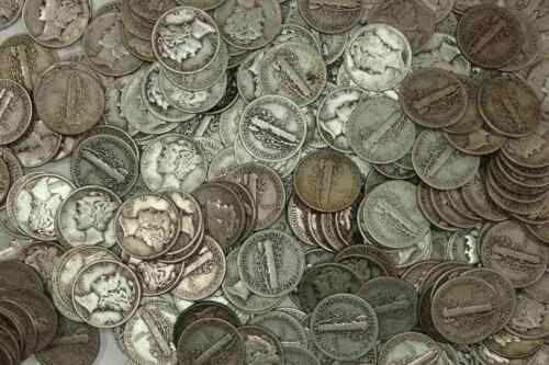 $5 FACE = 1 ROLL MERCURY DIMES = 50 COINS OZS FREE SHIPPING! 90/% SIVLER 3.5