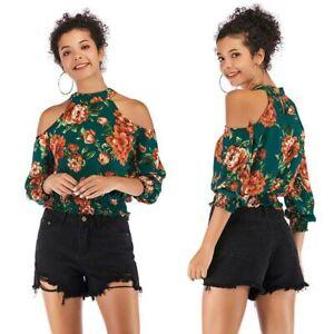 Tops-blouse-off-shoulder-floral-shirt-loose-casual-summer-Women-chiffon-t-shirt