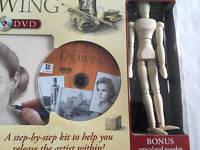 Hinkler Complete Drawing Kit Dvd Coloring Book & Wooden Model
