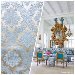SALE-Designer-Brocade-Damask-Upholstery-Decorating-Fabric-Powder-Blue