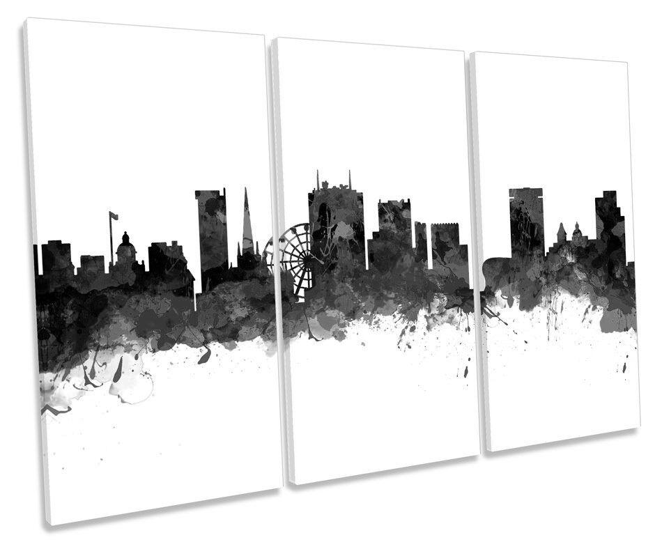 Birmingham City Skyline Modern B&W TREBLE CANVAS WALL ART Box Framed Picture