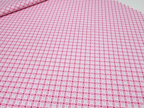 Stoff 100/% Baumwolle Popeline Ornamente grafische Muster rosa weiß Kleiderstoff