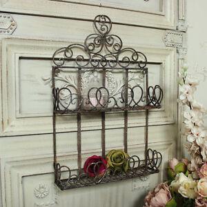 braunes metall wandmontage regal einheit shabby vintage chic badezimmer ebay. Black Bedroom Furniture Sets. Home Design Ideas