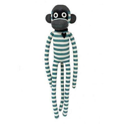 """Sock Monkey Toy - Extra Large - """"Bruno"""" - Teal & Cream Stripe Monkey Sockies"""