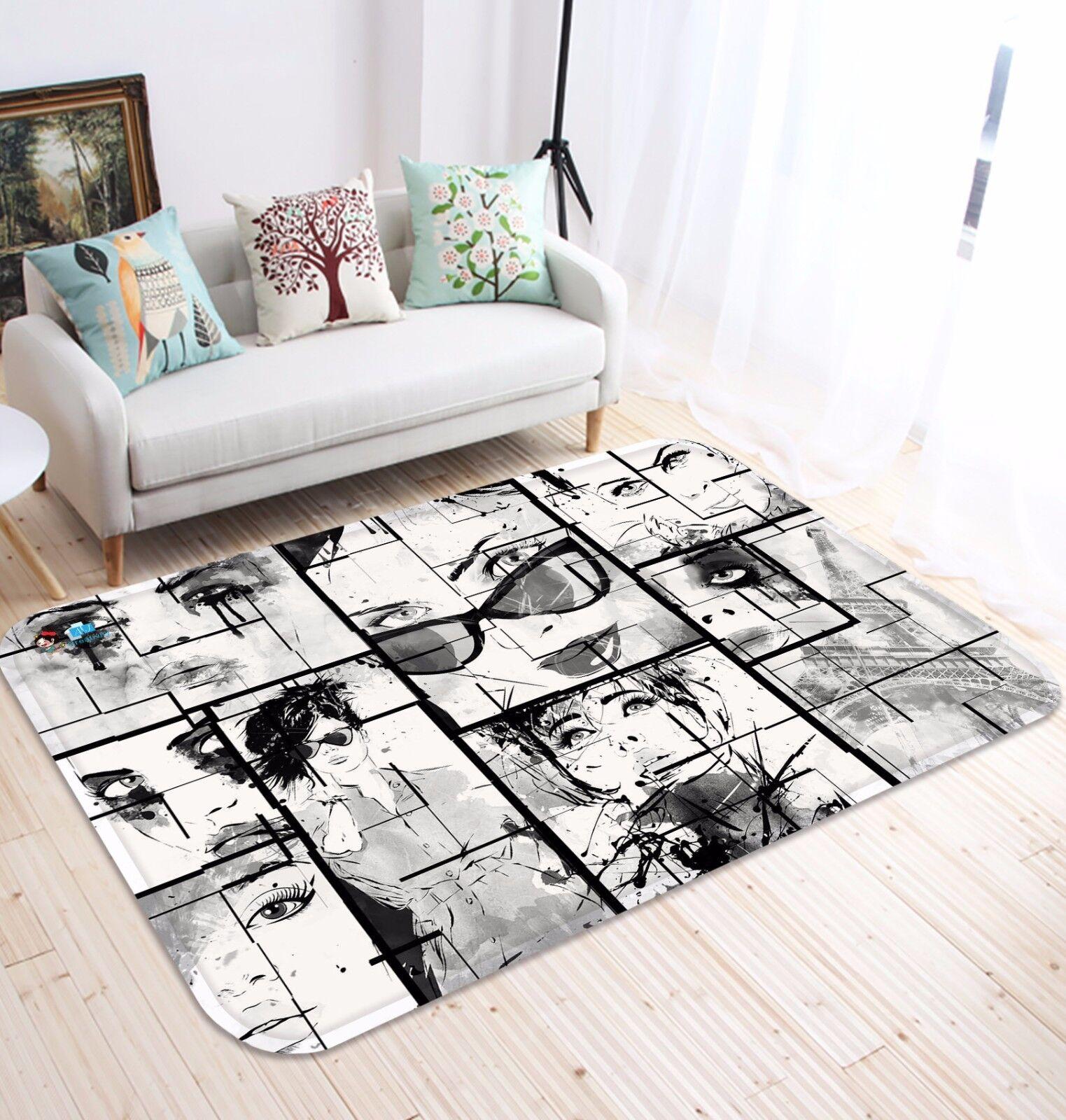 3D Horror Comic Girl 83 Non Slip Rug Mat Room Mat Round Elegant Photo Carpet CA