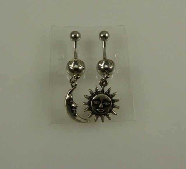 celestial Sun Moon 2 set  belly button ring, piercing, body jewelry