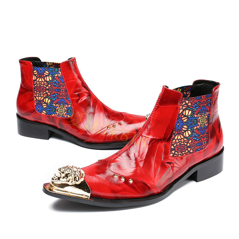 n Men Leather Shoes Pointy Toe Floral graffiti Formal Business Chukka Ankle Boot