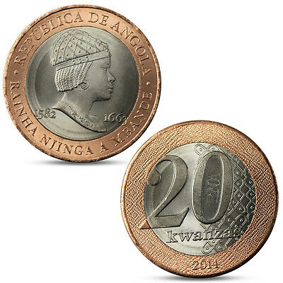 "ANGOLA 20 KWANZAS /""RAINHA NJINGA A MBANDE/"" 2014 BIMETALLIC COIN UNC"