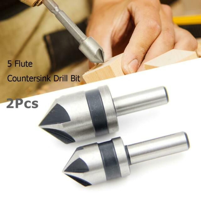 "2pcs 1/4"" 5 Flute Countersink Drill Bit HSS Point 82 Degree Angle Chamfer Cutter"