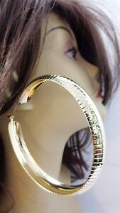 Image Is Loading Large 4 Inch Hoop Earrings Thick Lined Gold