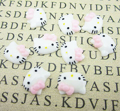 12pcs Cute Resin HELLO KITTY pink Bow flatback Scrapbooking For DIY phone /craft